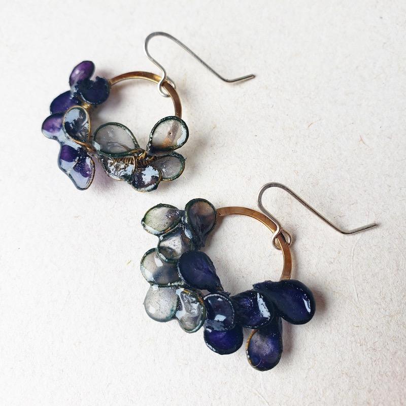 Melanie Brauner Brass ombre indigo earrings