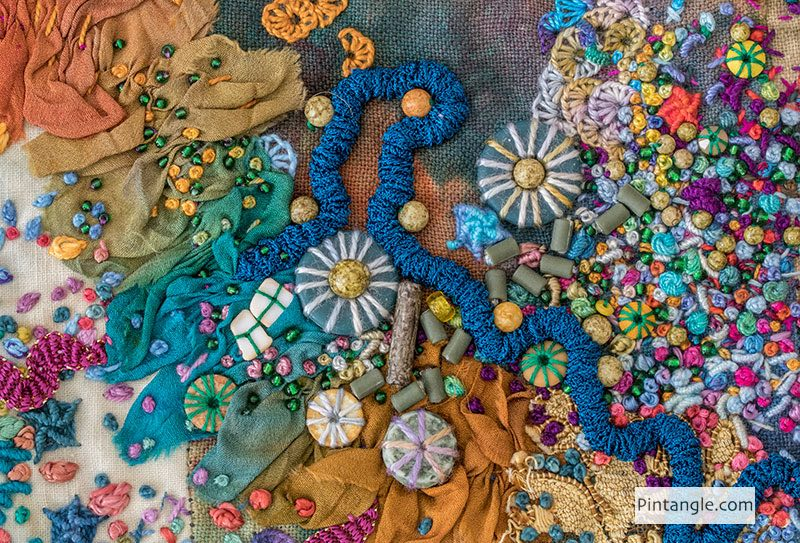 Close up of an embroidery project by Sharon Boggon