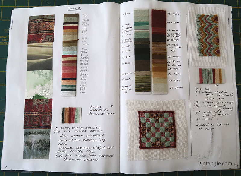 Sharon's journal: colour schemes from magazine scraps and samples worked in those schemes