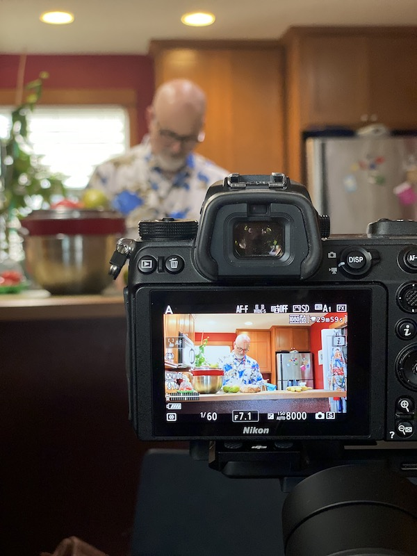 Filming a cooking class