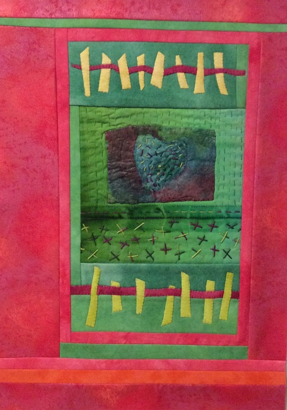 Red and green quilt with a touch of yellow by Al