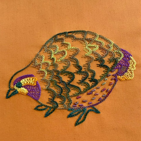 Embroidered bird by Catherine