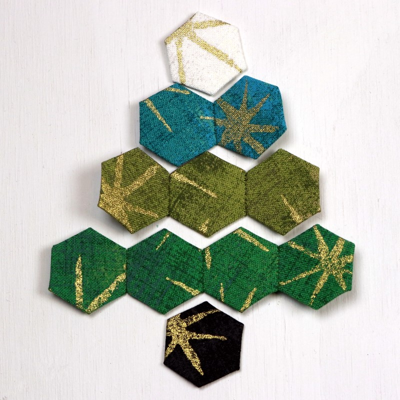 EPP Tree-Shaped Ornament with Hexies-12b-Continue sewing rows