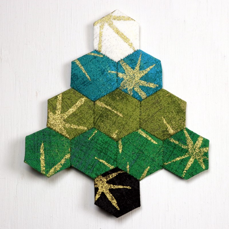 EPP Tree-Shaped Ornament with Hexies-16-One side complete