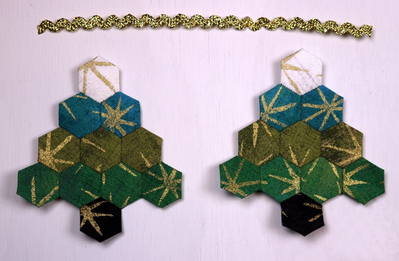 EPP Tree-Shaped Ornament with Hexies-17-Make second side and cut hanger