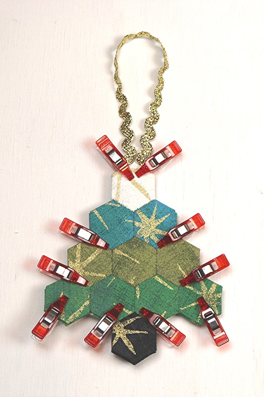 EPP Tree-Shaped Ornament with Hexies-18-Glue hanger and clip