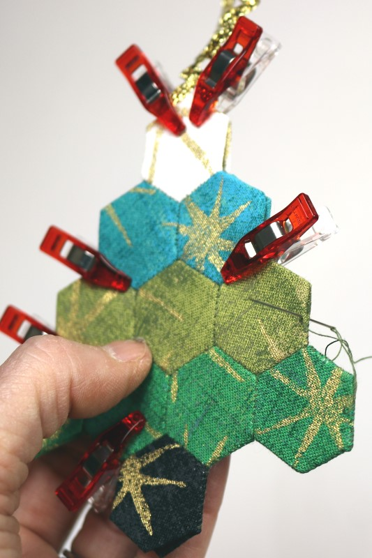 EPP Tree-Shaped Ornament with Hexies-19-Whip stitch outside edges