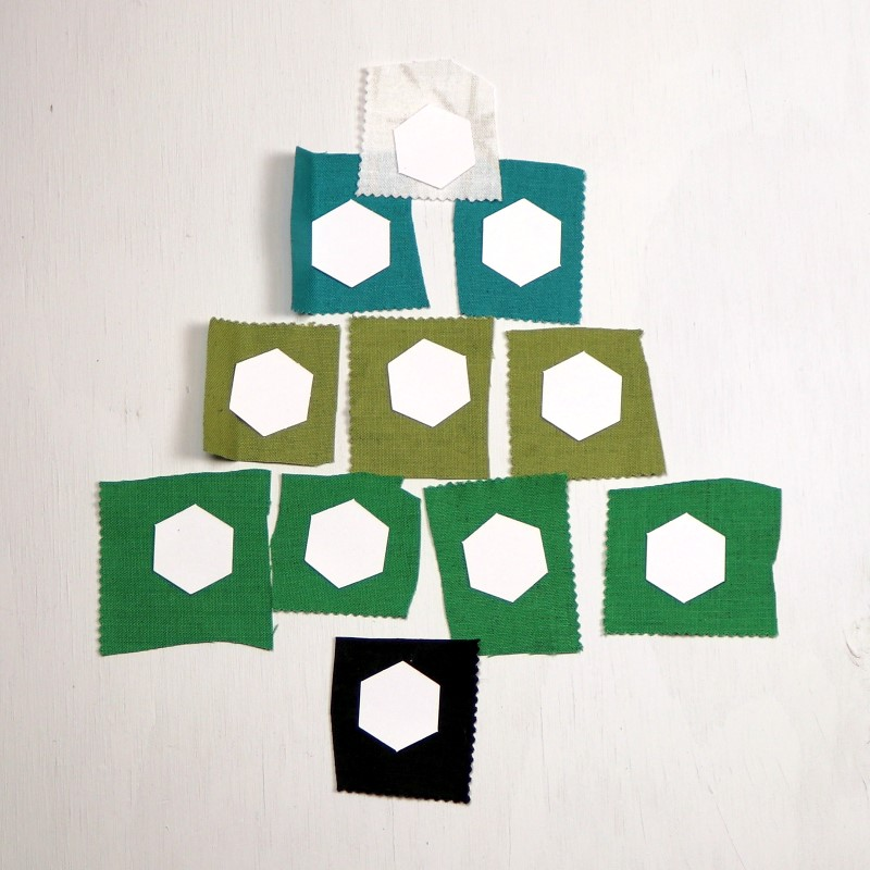 EPP Tree-Shaped Ornament with Hexies-2-Prepare for basting