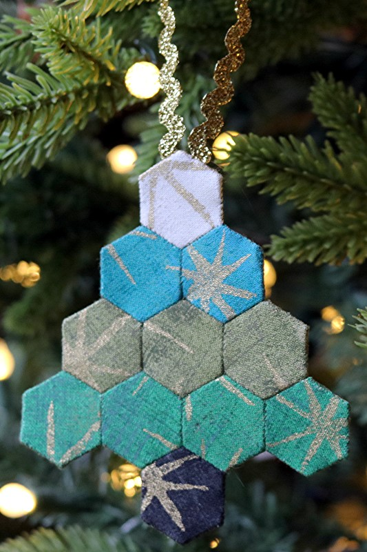 EPP Tree-Shaped Ornament with Hexies on Tree