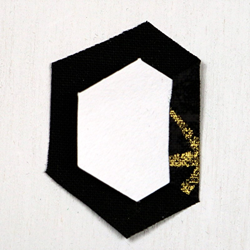 EPP Tree-Shaped Ornament with Hexies-4-Fold first edge over glue