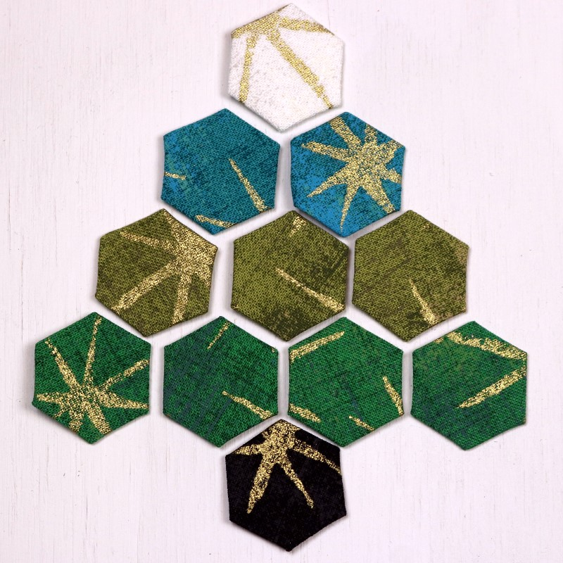 EPP Tree-Shaped Ornament with Hexies-8-Lay out hexie tree