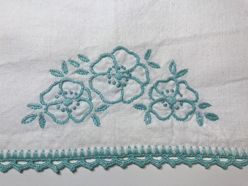 Vintage embroidery pillow case