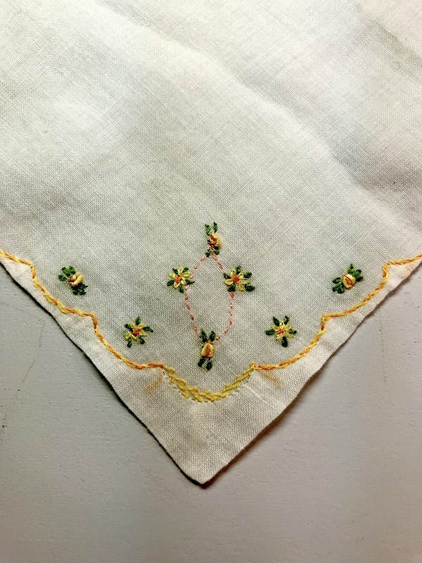 Vintage handkerchief with embroidered flowers