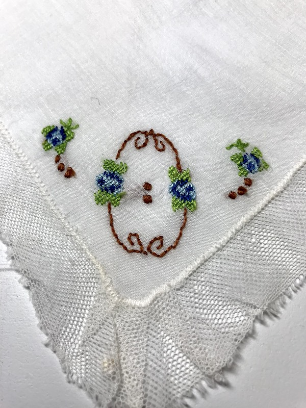 Vintage handkerchief with hand embroidered flowers