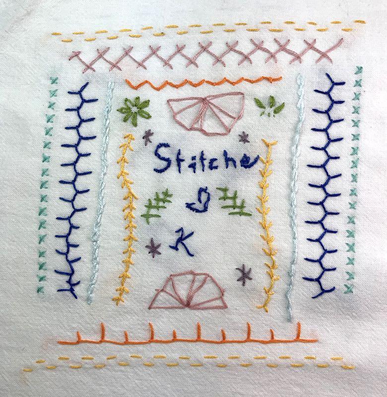 A vintage child's sampler including many stitches