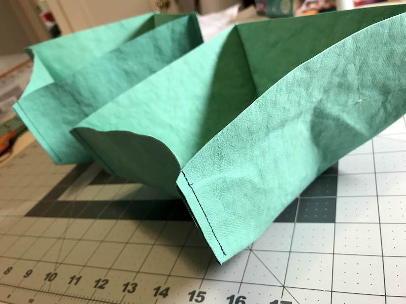 Close up of the sewn corners on Kraft tex boxes