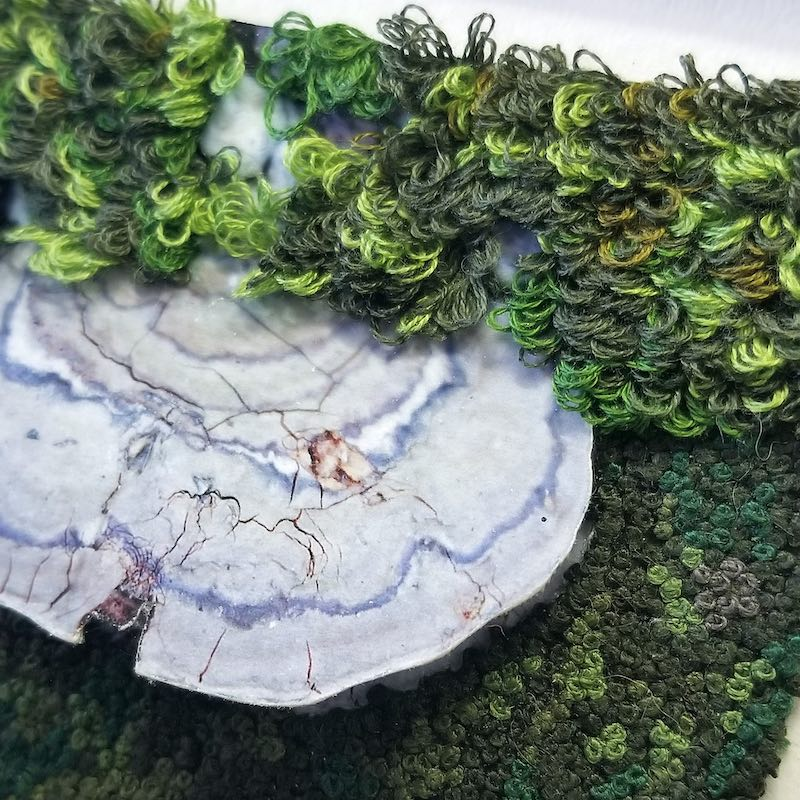 DETAIL of Moss embroidery by Michele Pollock