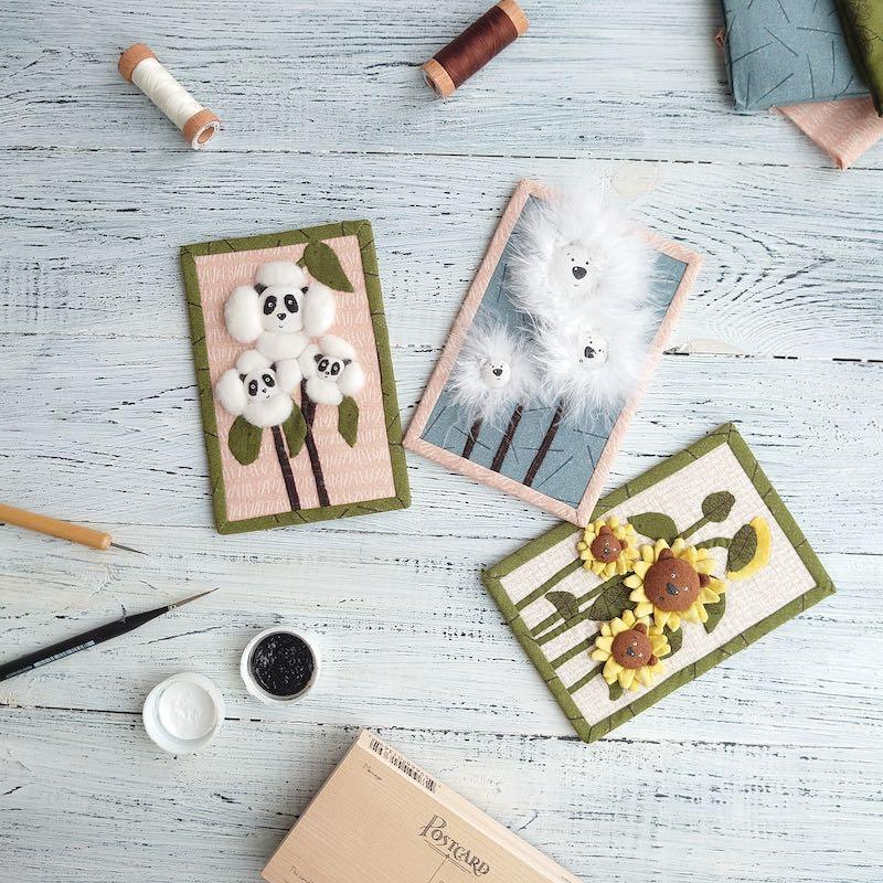 Set of 3 bear mini quilts