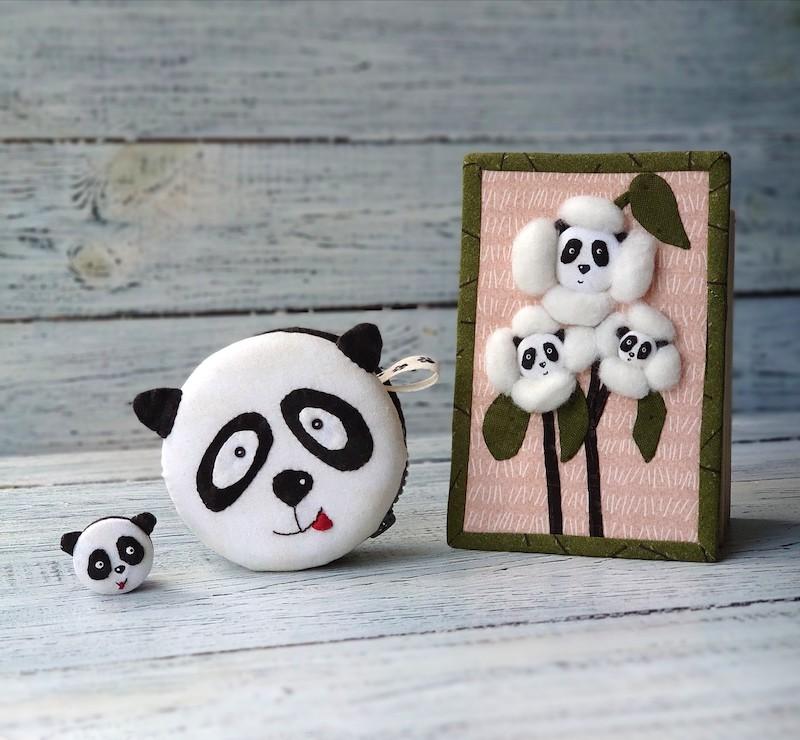 Panda Flowers mini quilt