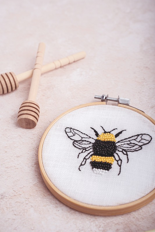 Bee embroidery by Rosemary