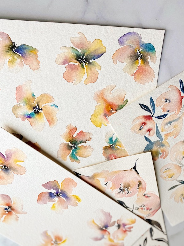 Watercolor flowers by Sarah Simon