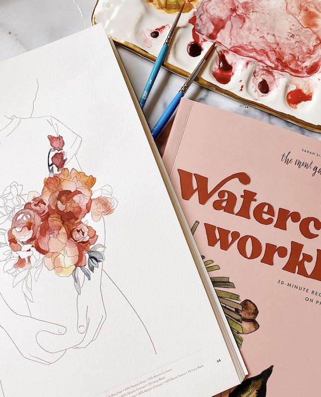 Painted page in Watercolor Workbook
