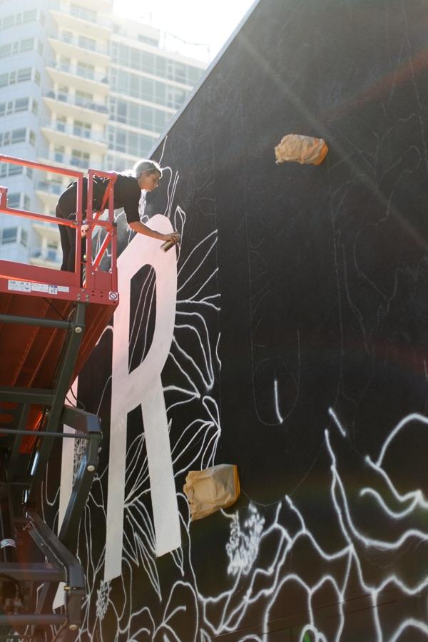 Alli Koch Mural painting in progress
