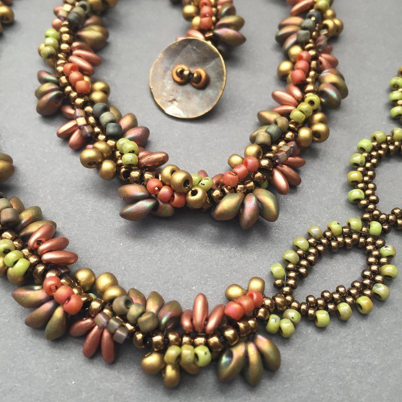 Spiral stitch necklace