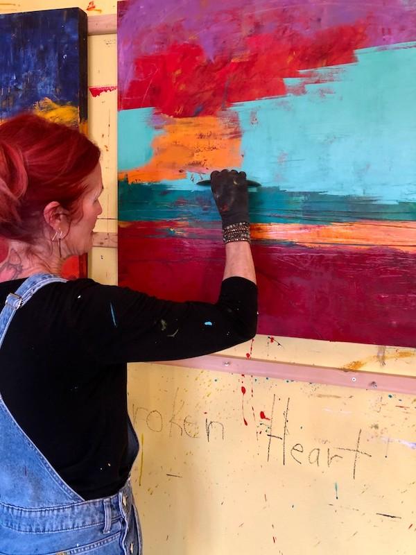 Dayna working on a piece