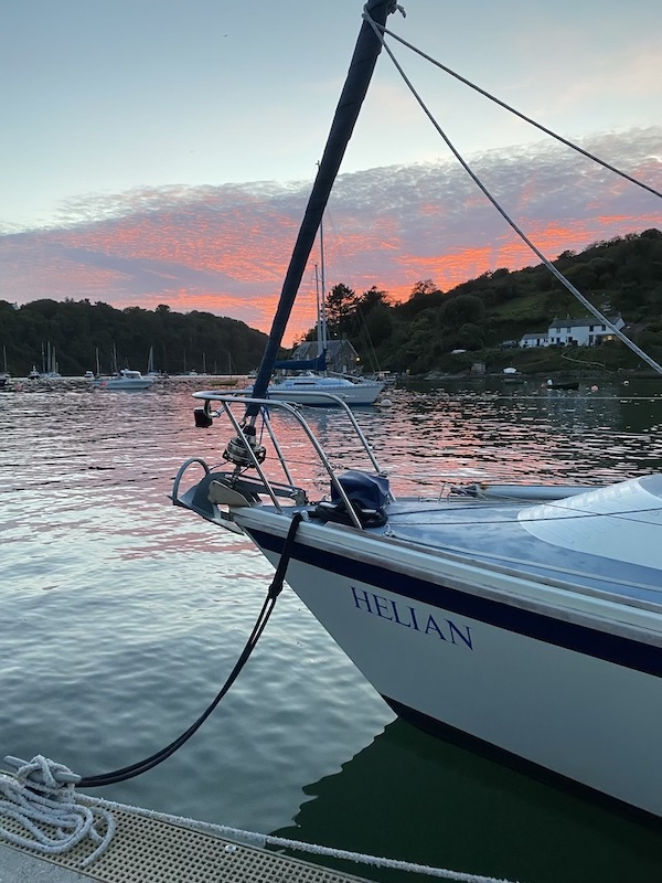 Holly's boat, Helian at sunset