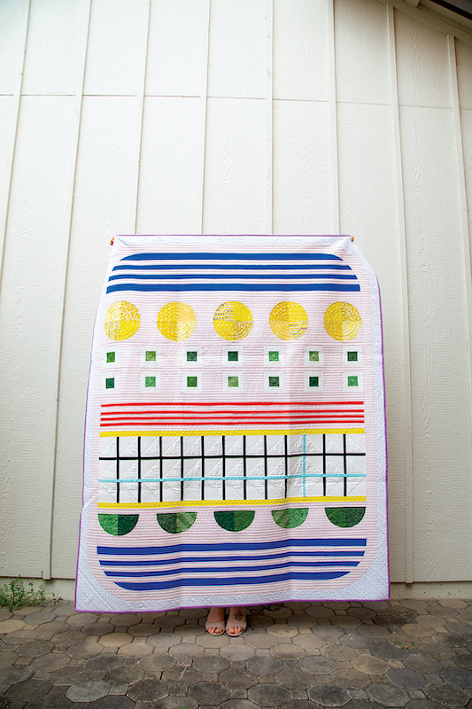 Stripes, circles and squares quilt