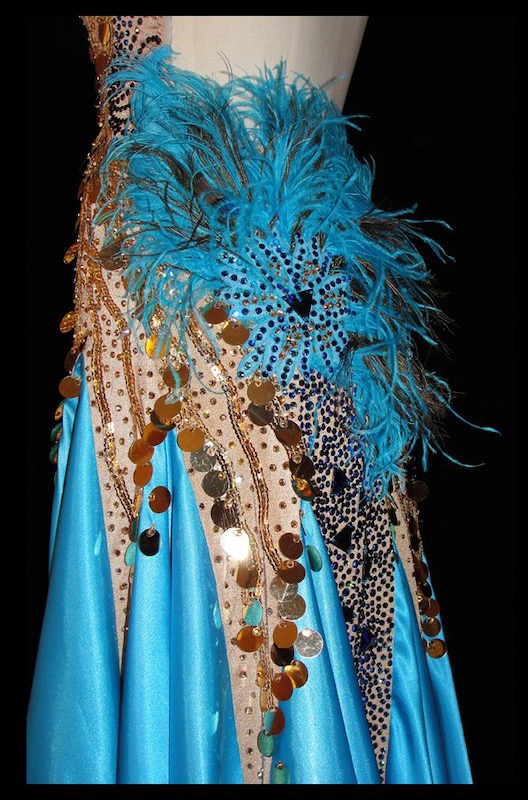 Closeup of one of Linda's ballroom costumes