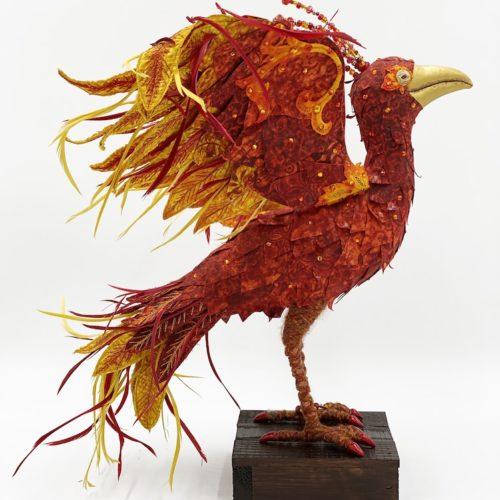 Reemergence fiber art bird