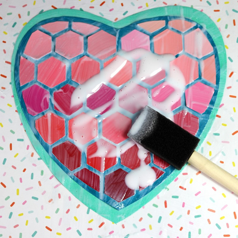 Paint Chip Heart Collage stack and apply matte medium