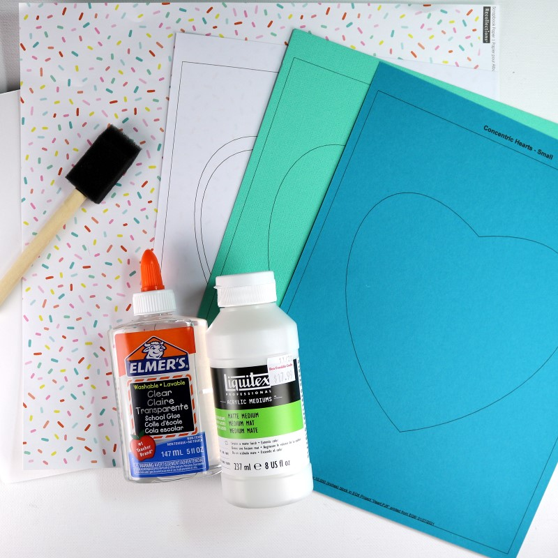 Paint Chip Heart Collage Supplies