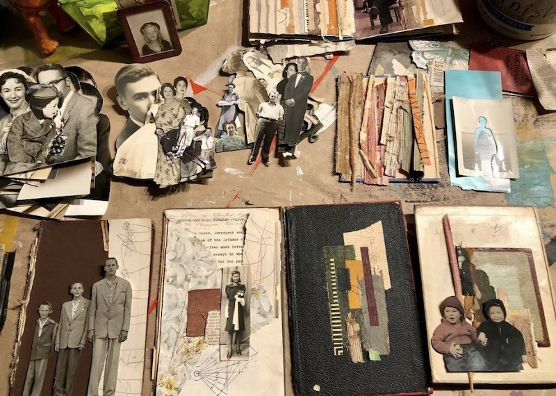 Salvage collage with old photos and books