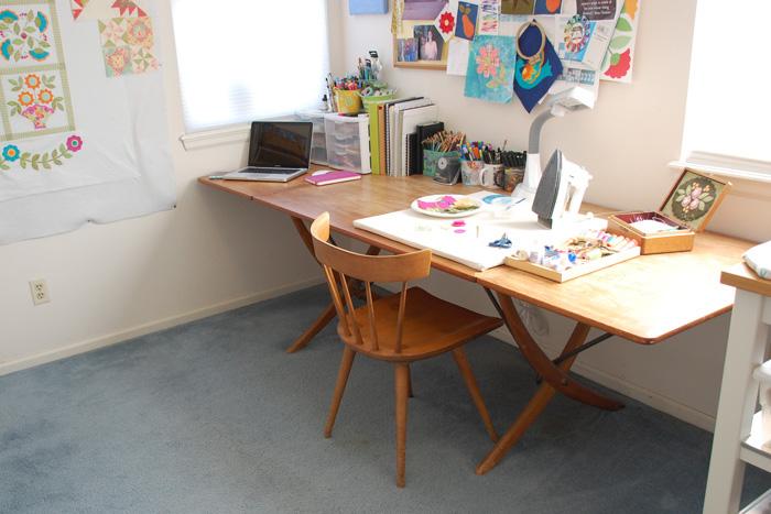 Erin's worktable in her studio