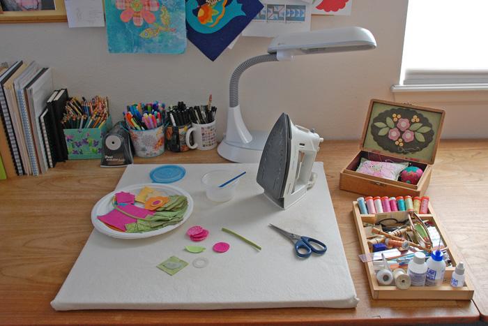 Erin's ironing mat in her studio