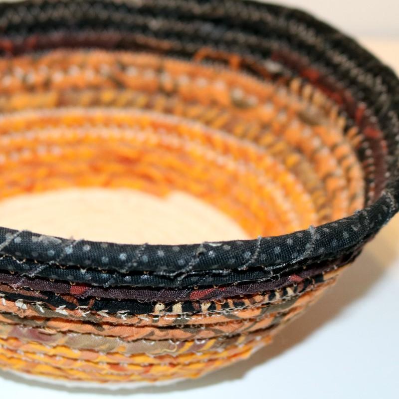Fabric Coil Bowl Batik dec stitched detail