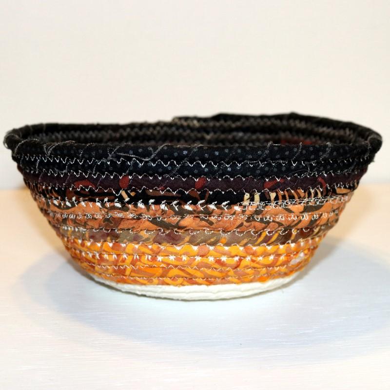 Fabric Coil Bowl Batik dec stitches