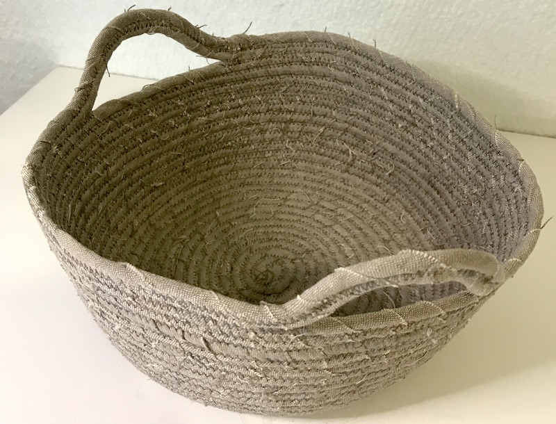 Fabric basket Finished fabric basket with handles inside view