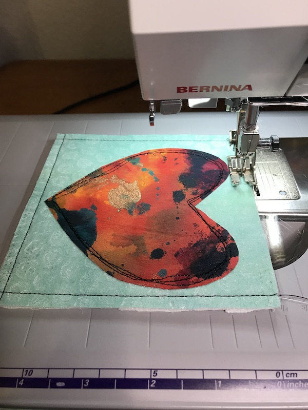 Final edge stitching on fabric Valentine