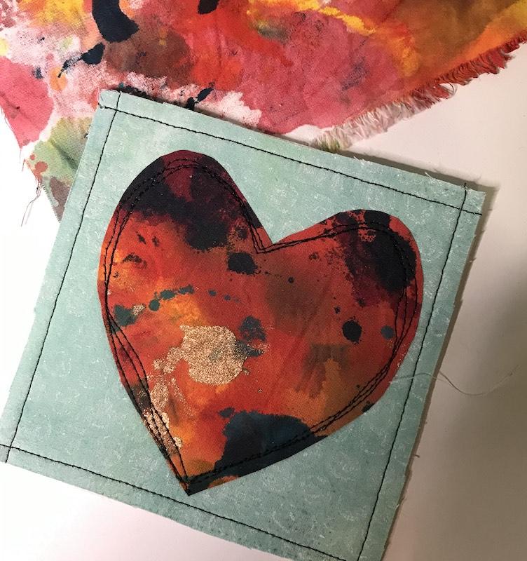 Finished Fabric Postcard w: fabric