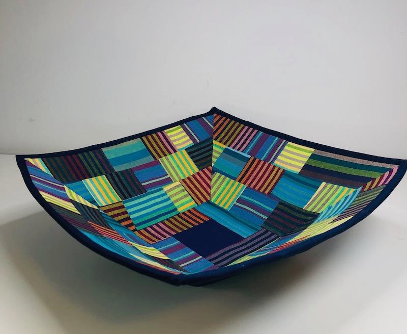 Stripe fabric bowl side view