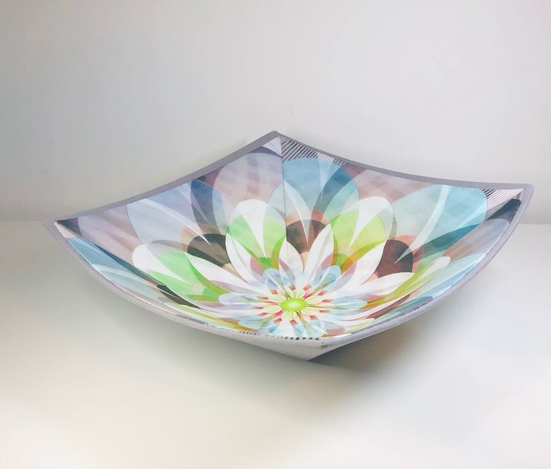 Flower fabric bowl side view