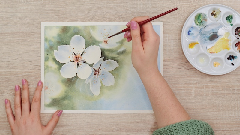 Adding detail to a watercolor flower
