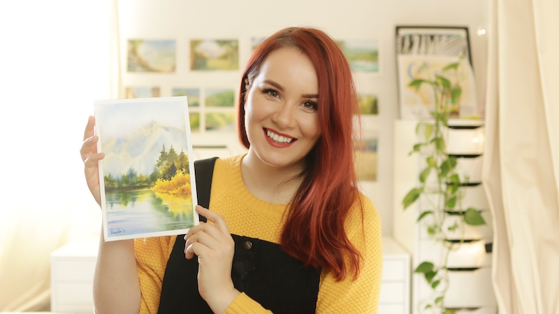 Mako and one of her watercolor landscapes
