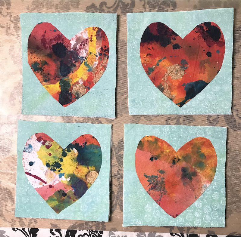 Valentines all fused and ready for stitching
