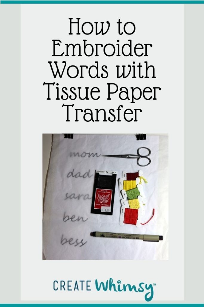 Embroider with Tissue Paper Transfer Pin 1