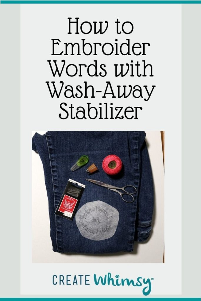 Embroider with Wash-away stabilizer Pin 1